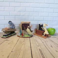 Disney Winnie the Pooh Desk Set 3-Pc Resin Eeyore Rabbit Owl Stapler Tape Pens  #Disney