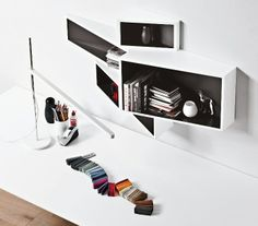 Wall-Mounted MDF Bookcase SheLLf by Kristalia | Design Ka-Lai Chan