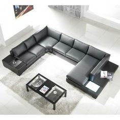 Check out the Tosh Furniture TOS-LF-2066-BN Modern Bonded Leather Sectional Sofa priced at $1,998.00 at Homeclick.com.