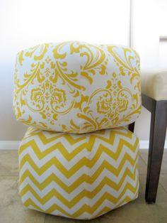18 Ottoman Pouf Floor Pillow Yellow White Damask by aletafae, $80.00
