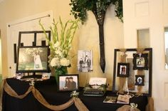WEdding decorating for church foyer | More photo's a wonderful arrangement and some more burlap ribbon and ...