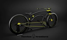 Black and yellow twisted Hunter Bycicle Retro, Bycicle Trailer Bike Motor Kit, Lowrider Bike, Cruiser Bicycle, Chopper Bike, Harley Davidson Chopper, Fat Bike, Bicycle Design, Bike Accessories, Custom Bikes