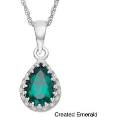 Gioelli Tiara Collection Sterling Silver 9x6mm Pear-cut Gemstone Crown... ($37) ❤ liked on Polyvore featuring jewelry, necklaces, green, sterling silver pendant, rope chain necklace, pendants & necklaces, gemstone pendant necklace and sterling silver gemstone pendants