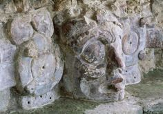 temple of the masks, edzna, sculpture, campeche, mexico