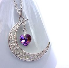 Violet Swarovski Crystal Moon Necklace, Silver Filigree Moon Pendant, Swarovski Elements, Purple Crystal Heart Moon Jewelry, Heart Jewelry