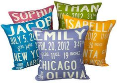 Little Circus Birth Announcement Pillow on shopstyle.com | The perfect personalized baby gift!