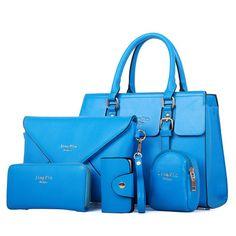 Women Fashion Bags, Shoulder Bags, Handbag Set, 5Pcs, Black, Blue, Pink, White