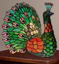 """Tiffany Style 11 5"""" Poetic Peacock Stained Glass Accent Lamp New   eBay"""