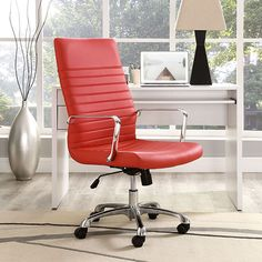 The Finley High Back Office Chair in Red is a contemporary classic design that will make any office pop with its fabulous color. The ribbed vinyl design adds comfort and style with the five dual wheeled casters help provide central support. The polished aluminum arms and padded high back help keep you comfortable and able to sit for long hours. The 360 degree swivel and easy to access lift can be adjusted for the users' heights and desk sizes | #FreeShipping