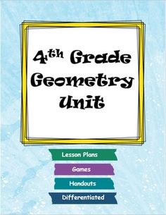 This product includes resources for 4th grade common core geometry