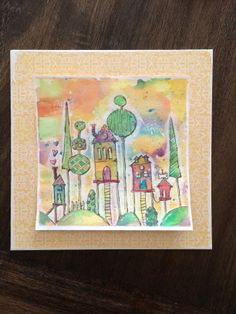 Whimsical watercolor houses on stilts by Nola. Lesson two Water Class by Danielle Donaldson