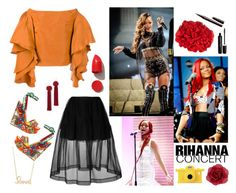 """""""Hot Ticket: Rihanna Concert - Polyvore Contest"""" by helen5526 ❤ liked on Polyvore featuring Rosie Assoulin, Simone Rocha, Sydney Evan, Dolce&Gabbana, Franchi, NARS Cosmetics, Vanessa Mooney, Marc Jacobs, Moschino and Accessorize"""