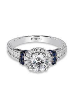 18K Gold Diamond & Sapphire Engagement Ring, 1.53 TCW from Effy Jewelry #wedding #halo