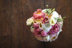 santa barbara wedding coral blush peach peonies ombre