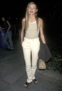 Model Esther Canadas attends the 7th on Sixth Spring 1998 Fashion Week on March 31 1998 at Bryant Park in New York City New York