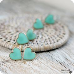 Mint Green Heart earrings i literally would do anything for these