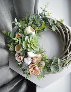 Summer Greenery Succulents Wreaths for Front Door FarmHouse Gift Wreath Birds Ne., Summer Greenery Succulents Wreaths for Front Door FarmHouse Gift Wreath Birds Nest Decor. Summer Door Wreaths, Holiday Wreaths, Winter Wreaths, Succulent Wreath, Diy Wreath, Tulle Wreath, Burlap Wreaths, How To Make Wreaths, Floral Arrangements