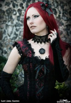 Model Lady Anna Calypso Ophelie Dress by Burleska Corsets Zelda Petticoat Vampiria Jacket Tudor Rose Necklace by Countess Crowns Hai. Goth Model, Tudor Rose, Rose Necklace, Gothic Outfits, Shopping Hacks, Anna, Lady, Blog, Clothes