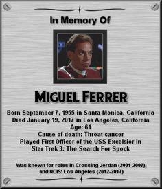 Miguel Ferrer Star Trek Crew, Star Trek Tv, Star Wars, Star Trek Ships, Star Trek Actors, Star Trek Characters, Star Trek Movies, Science Fiction, Memory Wall