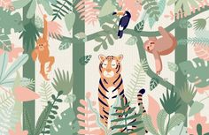 Checkout our amazing kids jungle animal wallpaper mural. Create the perfect kids bedroom or playroom with our fun safari animal characters. Kids Room Murals, Murals For Kids, Wall Murals, Mural Art, Nursery Murals, Tier Wallpaper, Nursery Wallpaper, Animal Wallpaper, Wallpaper For Kids Room