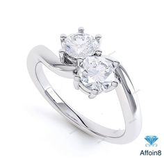 0.34 CT Round D/VVS1 Diamond Two Stone Engagement Ring In 14k White Gold Plated #Affoin8 #WomensTwoStoneEngagementRing