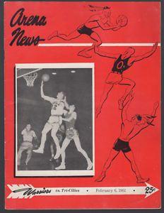 1951 NBA Basketball Program TRI-CITIES BLACKHAWKS vs. Philadelphia Warriors