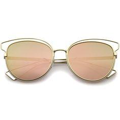 Gold Pink Mirrored Cat Eye Sunglasses - zeroUV