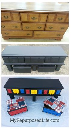 dresser repurposed into a kid's lego table with storage and rolling seats Diy Kids Furniture, Repurposed Furniture, New Furniture, Rustic Furniture, Furniture Deals, Painted Furniture, Furniture Market, Furniture Online, White Furniture