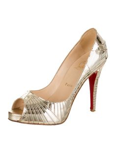 Gold-tone Christian Louboutin peep-toe stiletto pumps with geometric design throughout and topstitch details.