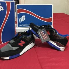 NEW BALANCE MENS 998 NB M998CBL MENS SIZE 11 COLOR BLACK GREY BLUE RED SUEDE/MESH New Balance Shoes Sneakers