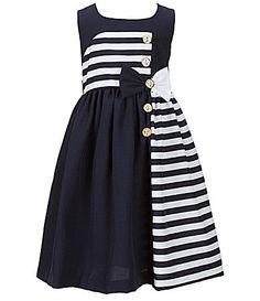 Bonnie Jean Girls Chiffon Uniforms Bow Striped RED Navy Blue Dress 7-16
