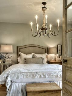 Master Bedroom - I like the size of the lamp on left - especially the shade.