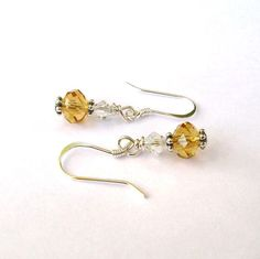 Yellow Topaz Earrings Faceted Czech Glass by CinLynnBoutique, $17.00