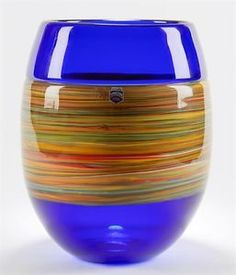 ITALIAN-MURANO-GINO-CENEDESE-SIGNED-SWIRL-DESIGN-BLUE-ART-GLASS-VASE-20TH-C