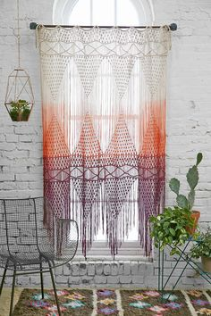 Magical Thinking Safi Macrame Dip-Dye Ombre Gradient Braided Woven Tassel Fringe Wall Hanging Curtain Window Treatment