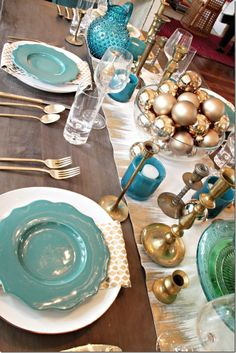 table setting, teal and gold
