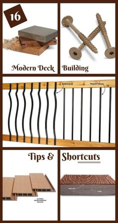 16 Modern Deck Building Tips and Shortcuts: There are lots of new decking products on the market, and deck building methods continue to evolve and improve. Here are some of the best tips and products for a great looking deck that will last decades. http://www.familyhandyman.com/decks/modern-deck-building-tips-and-shortcuts