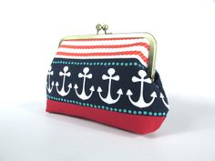 Anchor clutch  Cotton purse  Navy red white Bag  by ScarfObsession, $37.00