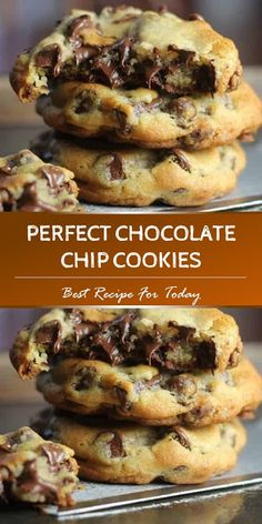 Perfect Chocolate Chip Cookies - These perfect cookies are buttery chewy thick and chocked full of rich semi-sweet chocolate chips chocolate chip cookies dessert # Triple Chocolate Chip Cookies, Chocolate Chip Recipes Easy, Desserts With Chocolate Chips, Best Chocolate Chip Cookies Recipe, Homemade Chocolate Chip Cookies, Oatmeal Chocolate Chip Cookies, Dessert Chocolate, Chocochip Cookies Recipe, Thanksgiving