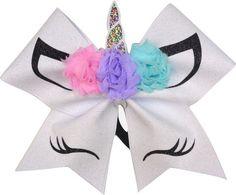 Unicorn Flowers Birthday Wishes Glitter Cheer Bow-