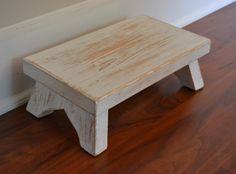 Diy kids kitchen stool ideas for 2019 Small Wooden Stool, Small Stool, Wood Stool, Diy Kids Kitchen, Wooden Kitchen, Shabby Chic Furniture, Diy Furniture, White Stool, Kids Stool