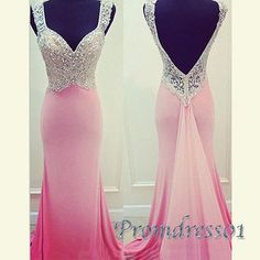 Backless chiffon prom dress,ball gown , unique style beaded pink lace chiffon mermaid prom dress for 2016 #coniefox #2016prom