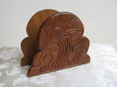 Vintage Mushroom Carved Wood Napkin Letter by vintagenowandthen, $12.00