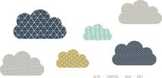 I love this color grouping! -Geo Clouds WALL DECAL by TheLovelyWall on Etsy