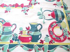Vintage Printed Tablecloth  Tea Pots Dishes Fruit  by AStringorTwo, $28.00