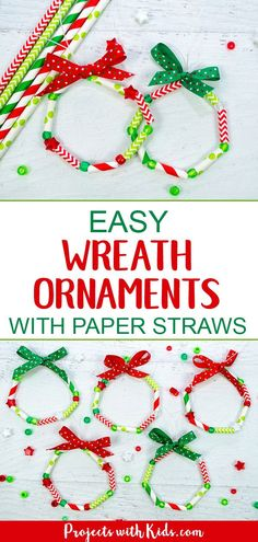These wreath ornaments with paper straws are the perfect colorful addition to any Christmas tree. An easy and fun Christmas craft for kids of all ages. kids christmas crafts easy Easy Kid Made Wreath Ornaments with Paper Straws Paper Ornaments, Ornament Crafts, Diy Christmas Ornaments, Christmas Fun, Simple Christmas Crafts, Christmas Card Ideas With Kids, Christmas Crafts For Kids To Make At School, Kid Made Christmas Gifts, Christmas Tree Decorations For Kids
