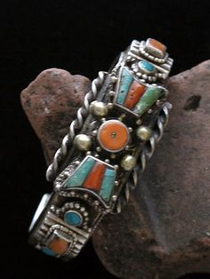 Tibetan Ornate Cuff Bracelet | ca. mid 1900s - silver, brass, turquoise and coral.