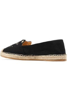 Charlotte Olympia - Kitty Embroidered Canvas Espadrilles - Black - IT36.5