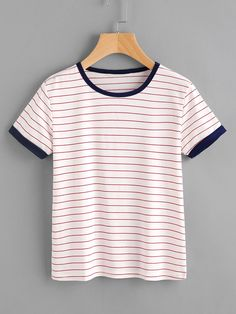 Shop Striped Ringer Tee online. SheIn offers Striped Ringer Tee & more to fit your fashionable needs.