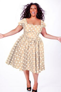 JIBRI Plus Size Polka Dot Swing Dress (Tan)